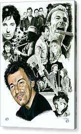 Bruce Springsteen Through The Years Acrylic Print by Ken Branch