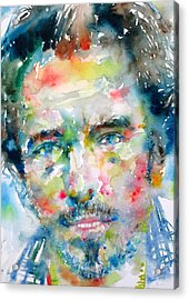 Bruce Springsteen Watercolor Portrait.1 Acrylic Print by Fabrizio Cassetta