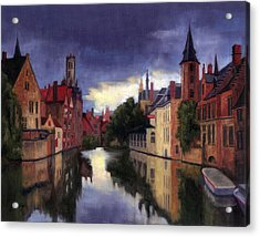 Bruges Belgium Canal Acrylic Print by Janet King