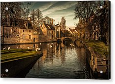 Bruges Canal Acrylic Print by Chris Fletcher