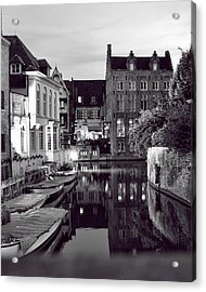 Bruges Canal In Black And White Acrylic Print