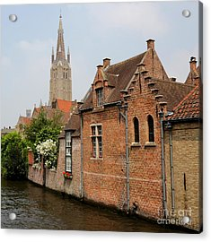 Bruges Houses With Bell Tower Acrylic Print by Carol Groenen
