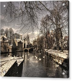 Bruges In Christmas Dress Acrylic Print by Yvette Depaepe