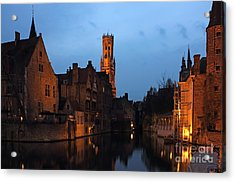 Bruges Rozenhoedkaai Night Scene Acrylic Print by Kiril Stanchev