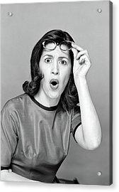 Brunette Woman Portrait Reaction Shot Acrylic Print