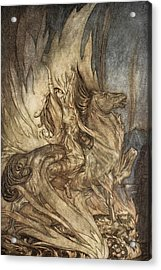 Brunnhilde On Grane Leaps Acrylic Print by Arthur Rackham