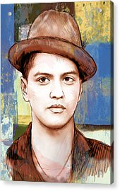Bruno Mars - Stylised Drawing Art Poster Acrylic Print by Kim Wang