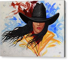 Brushstroke Cowgirl #3 Acrylic Print by Lance Headlee