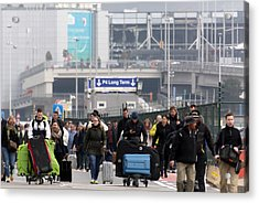 Brussels Airport And Metro Rocked By Explosions Acrylic Print by Sylvain Lefevre