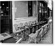 Brussels Cafe In Black And White Acrylic Print by Carol Groenen