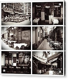 Brussels Cafes Collage Acrylic Print by Carol Groenen