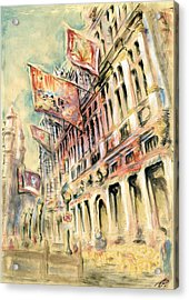 Brussels Grand Place - Watercolor Acrylic Print