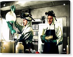 Bryan Cranston As Walter White And Aaron Paul As Jesse Pinkman Cooking Metha @ Tv Serie Breaking Bad Acrylic Print