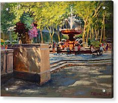 Bryant Park - Afternoon At The Fountain Terrace Acrylic Print