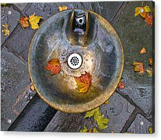 Bryant Park Fountain In Autumn Acrylic Print