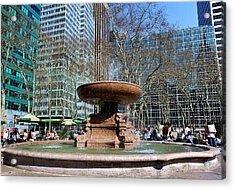 Bryant Park Fountain Acrylic Print by Tony Ambrosio
