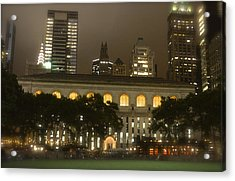 Bryant Park In New York City At Night Acrylic Print by Michael Dagostino