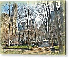 Bryant Park Library Gardens Acrylic Print by Tony Ambrosio