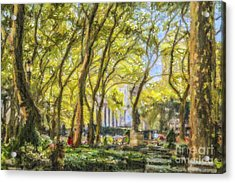 Bryant Park October Morning Acrylic Print by Liz Leyden