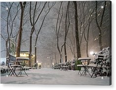 Bryant Park - Winter Snow Wonderland - Acrylic Print