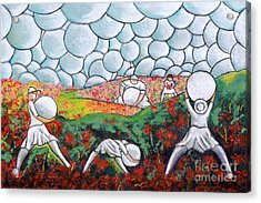 Bubble Sky And Flower Fields Acrylic Print by William Cain