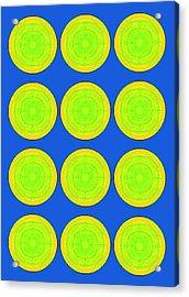 Bubbles Lime Blue Warhol  By Robert R Acrylic Print