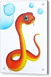 Bubbly Baby Snake Acrylic Print by Oiyee At Oystudio