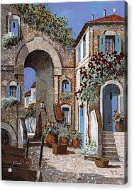 Buchi Blu Acrylic Print by Guido Borelli