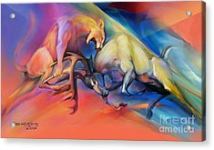 Acrylic Print featuring the painting Buck Off by Rob Corsetti
