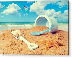 Bucket And Spade On Beach Acrylic Print by Amanda Elwell