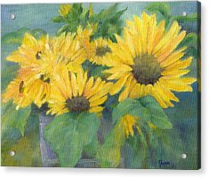 Bucket Of Sunflowers Colorful Original Painting Sunflowers Sunflower Art K. Joann Russell Artist Acrylic Print