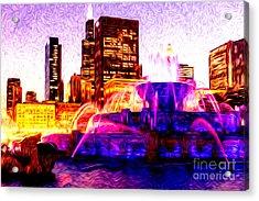 Buckingham Fountain At Night Digital Painting Acrylic Print by Paul Velgos