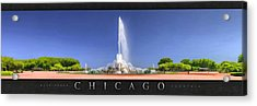 Buckingham Fountain Panorama Poster Acrylic Print by Christopher Arndt