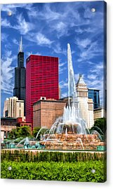 Buckingham Fountain Sears Tower Acrylic Print