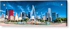 Buckingham Fountain Skyline Panorama Acrylic Print by Christopher Arndt