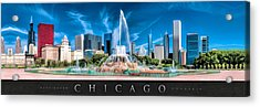 Buckingham Fountain Skyline Panorama Poster Acrylic Print by Christopher Arndt