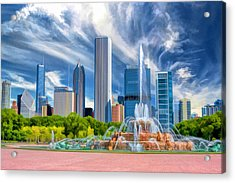 Buckingham Fountain Skyscrapers Acrylic Print