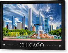 Buckingham Fountain Skyscrapers Poster Acrylic Print by Christopher Arndt