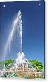 Buckingham Fountain Spray Acrylic Print by Christopher Arndt