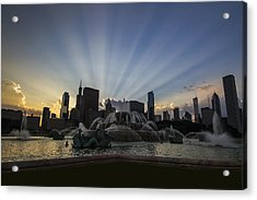 Buckingham Fountain With Rays Of Sunlight Acrylic Print by Sven Brogren