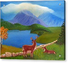 Acrylic Print featuring the painting Buck's Domain by Sheri Keith