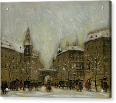 Budapest In The Snow Acrylic Print by Antal Berkes