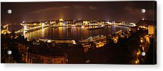 Budapest Night Panorama  Acrylic Print by Ioan Panaite