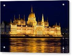 Budapest Parliament At Night Acrylic Print by Artur Bogacki