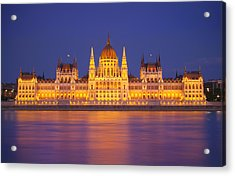 Budapest Parliament At Night Acrylic Print by Ioan Panaite