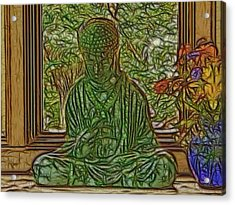 Buddha In Window With Blue Vase Acrylic Print by Larry Capra