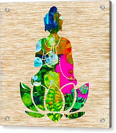 Buddah On A Lotus Acrylic Print by Marvin Blaine
