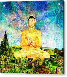 Buddha Acrylic Print by Ally  White