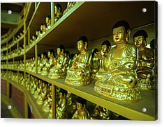 Buddha Collection Underneath The Golden Acrylic Print by Michael Runkel