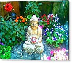 Backyard Buddha Acrylic Print by Steed Edwards